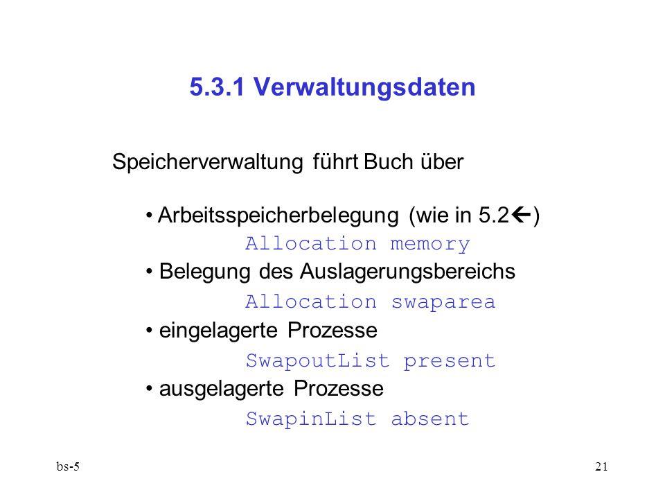 5.3.1 Verwaltungsdaten Speicherverwaltung führt Buch über