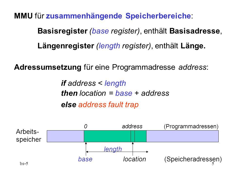 MMU für zusammenhängende Speicherbereiche: