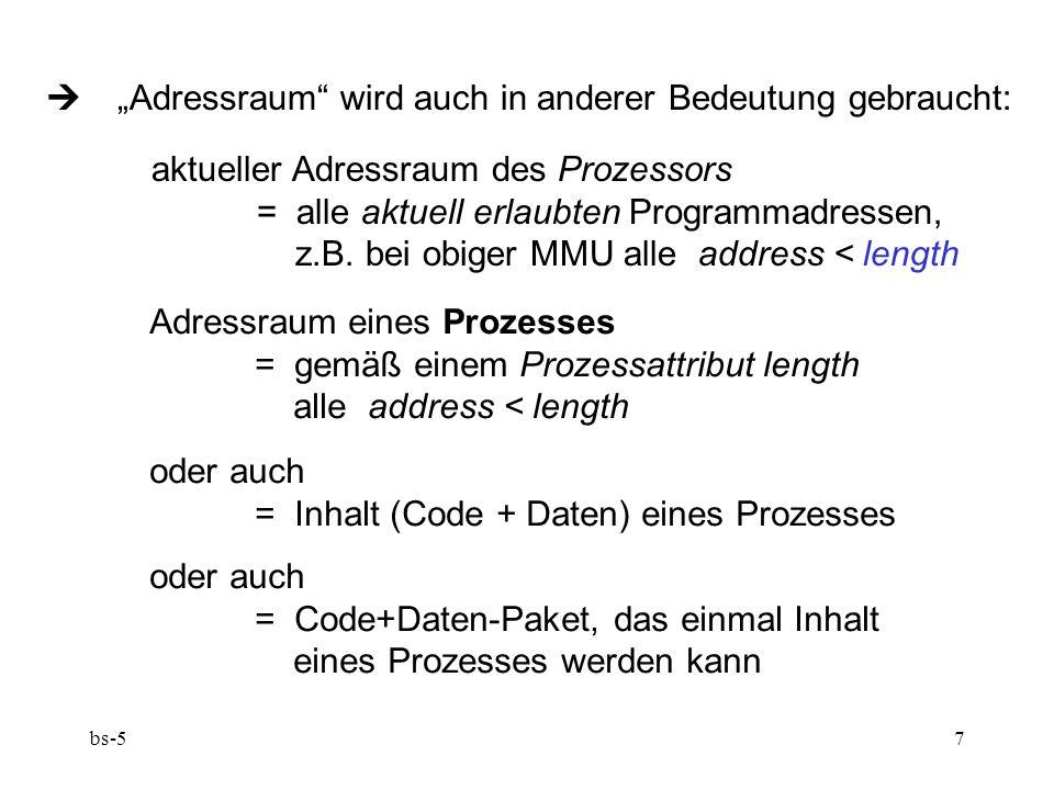 """ """"Adressraum wird auch in anderer Bedeutung gebraucht:"""
