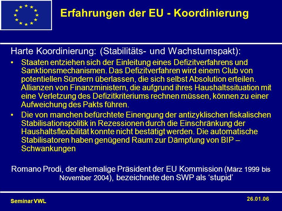 Erfahrungen der EU - Koordinierung