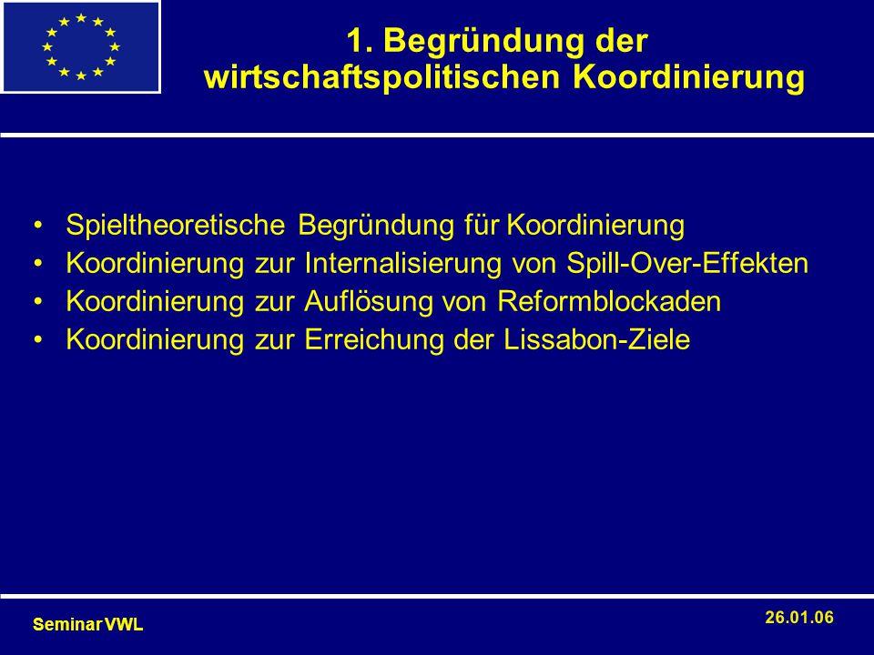1. Begründung der wirtschaftspolitischen Koordinierung