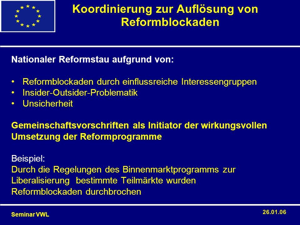 Koordinierung zur Auflösung von Reformblockaden