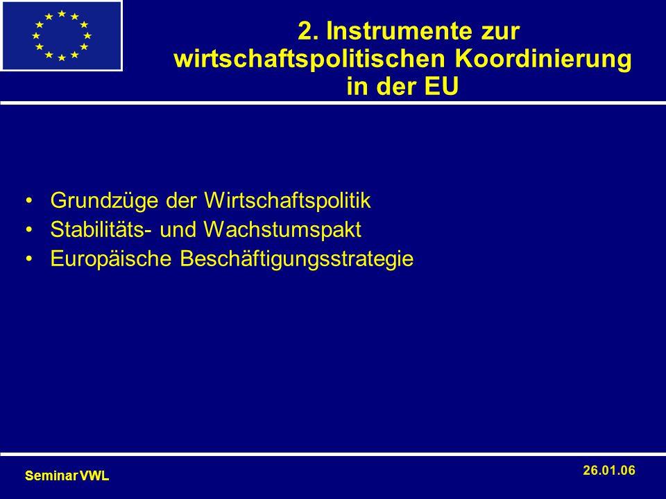 2. Instrumente zur wirtschaftspolitischen Koordinierung in der EU