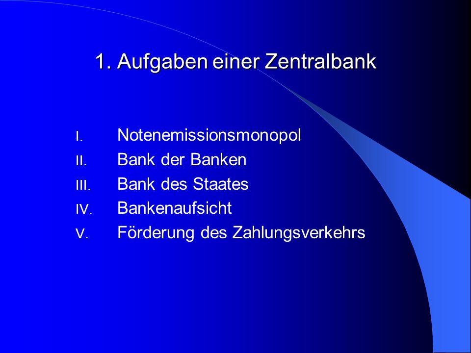 1. Aufgaben einer Zentralbank
