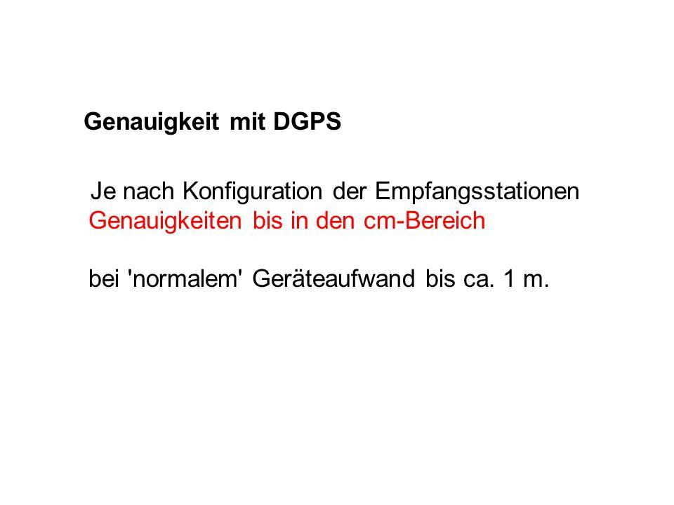 Genauigkeit mit DGPS Je nach Konfiguration der Empfangsstationen Genauigkeiten bis in den cm-Bereich bei normalem Geräteaufwand bis ca.