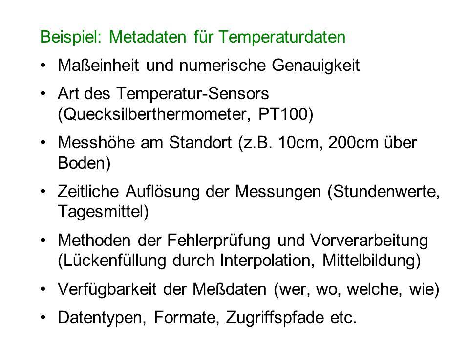Beispiel: Metadaten für Temperaturdaten