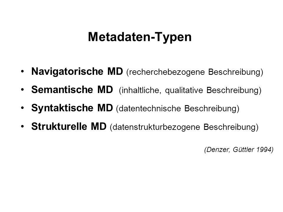 Metadaten-Typen Navigatorische MD (recherchebezogene Beschreibung)