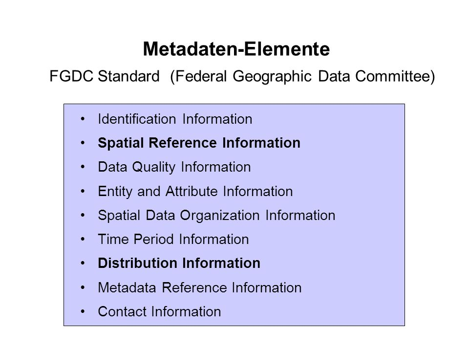 Metadaten-Elemente FGDC Standard (Federal Geographic Data Committee)