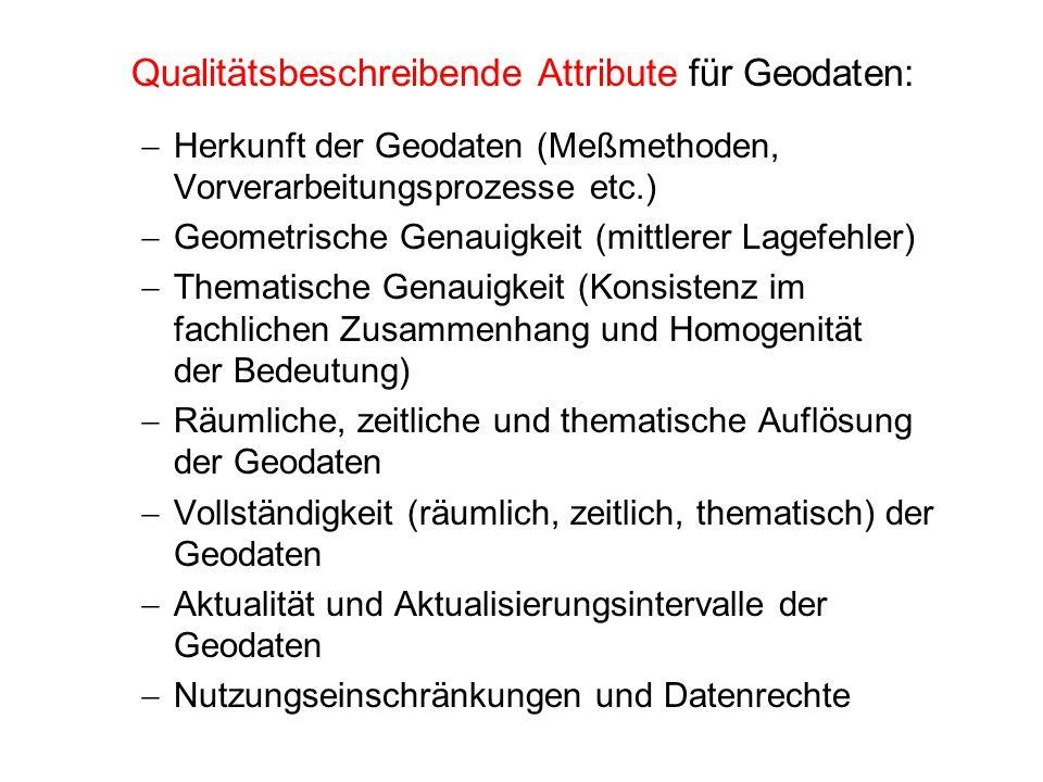 Qualitätsbeschreibende Attribute für Geodaten: