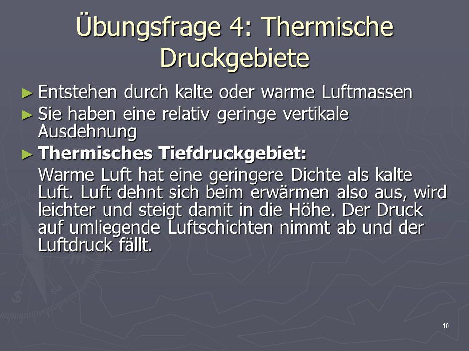 Übungsfrage 4: Thermische Druckgebiete