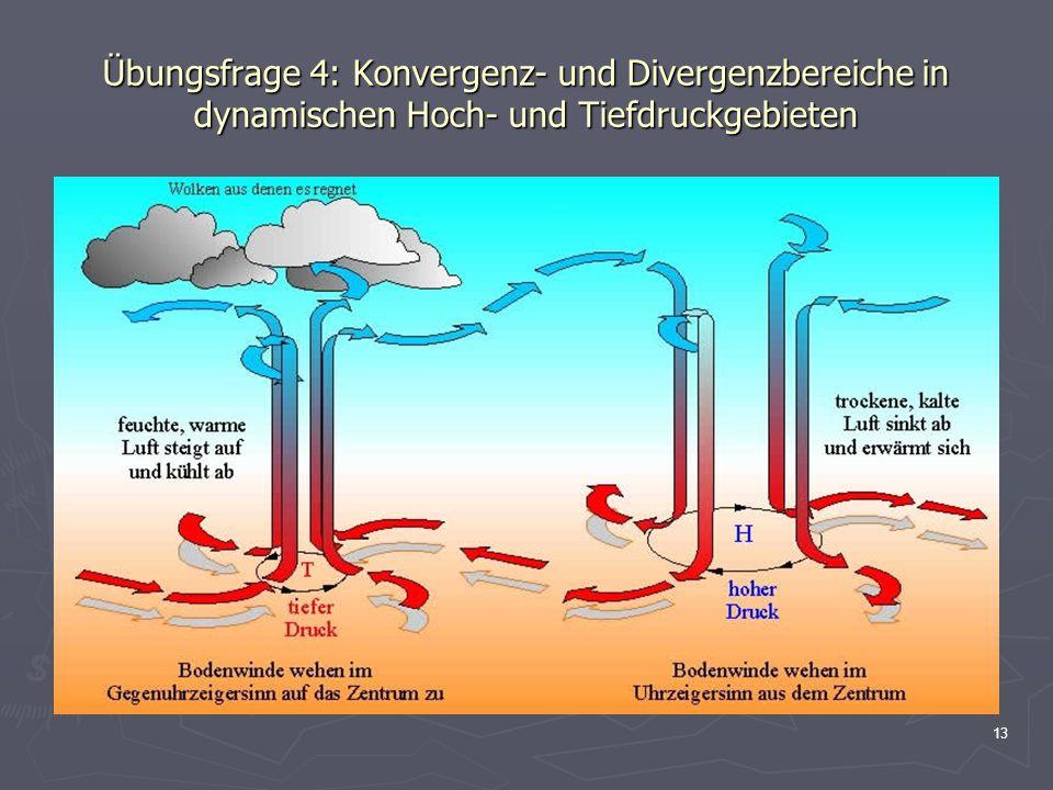 Übungsfrage 4: Konvergenz- und Divergenzbereiche in dynamischen Hoch- und Tiefdruckgebieten