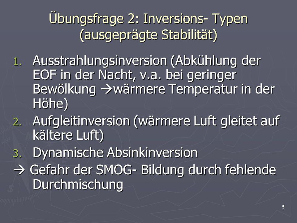 Übungsfrage 2: Inversions- Typen (ausgeprägte Stabilität)