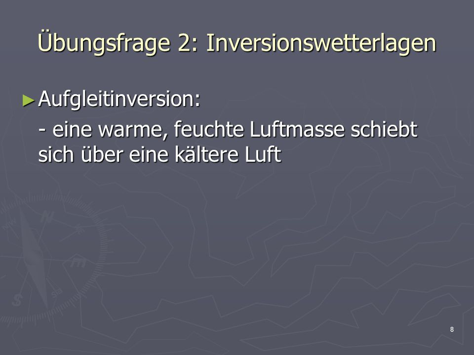 Übungsfrage 2: Inversionswetterlagen