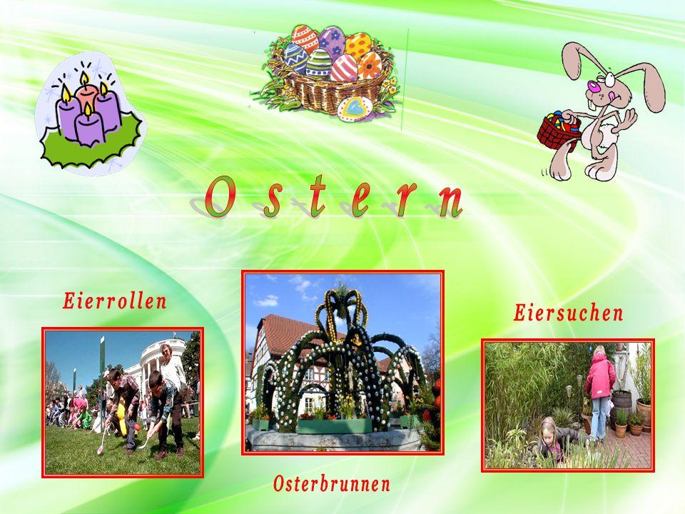 Ostern Eierrollen Eiersuchen Osterbrunnen