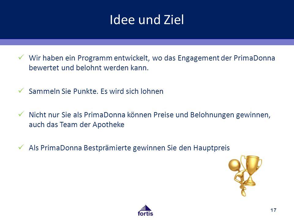 Idee und Ziel Wir haben ein Programm entwickelt, wo das Engagement der PrimaDonna bewertet und belohnt werden kann.