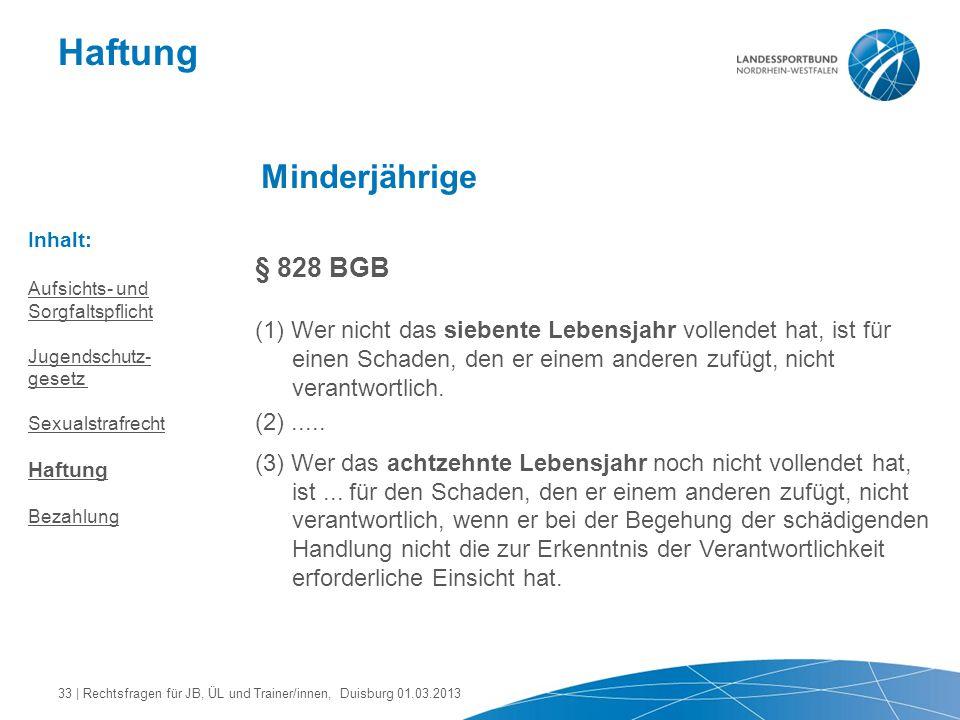 Haftung Minderjährige § 828 BGB