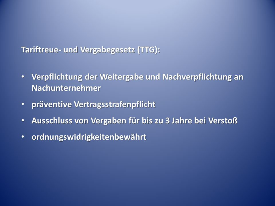 Tariftreue- und Vergabegesetz (TTG):