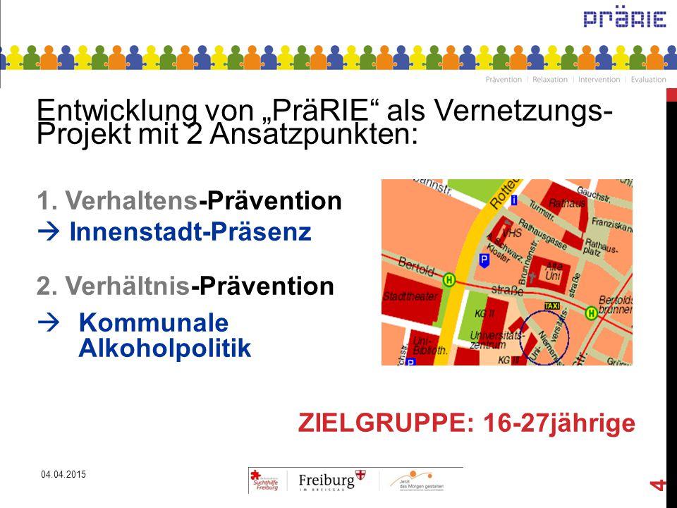 """Entwicklung von """"PräRIE als Vernetzungs- Projekt mit 2 Ansatzpunkten:"""