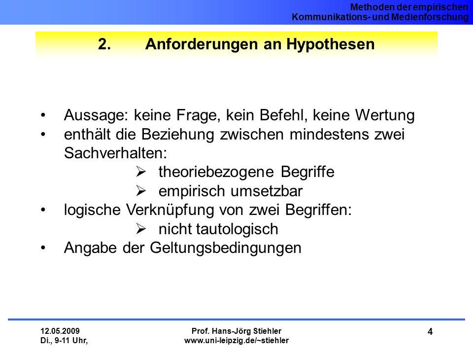 2. Anforderungen an Hypothesen