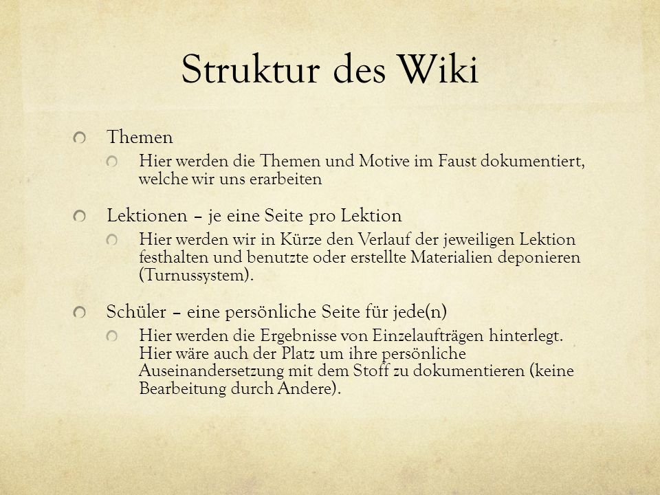 Struktur des Wiki Themen Lektionen – je eine Seite pro Lektion