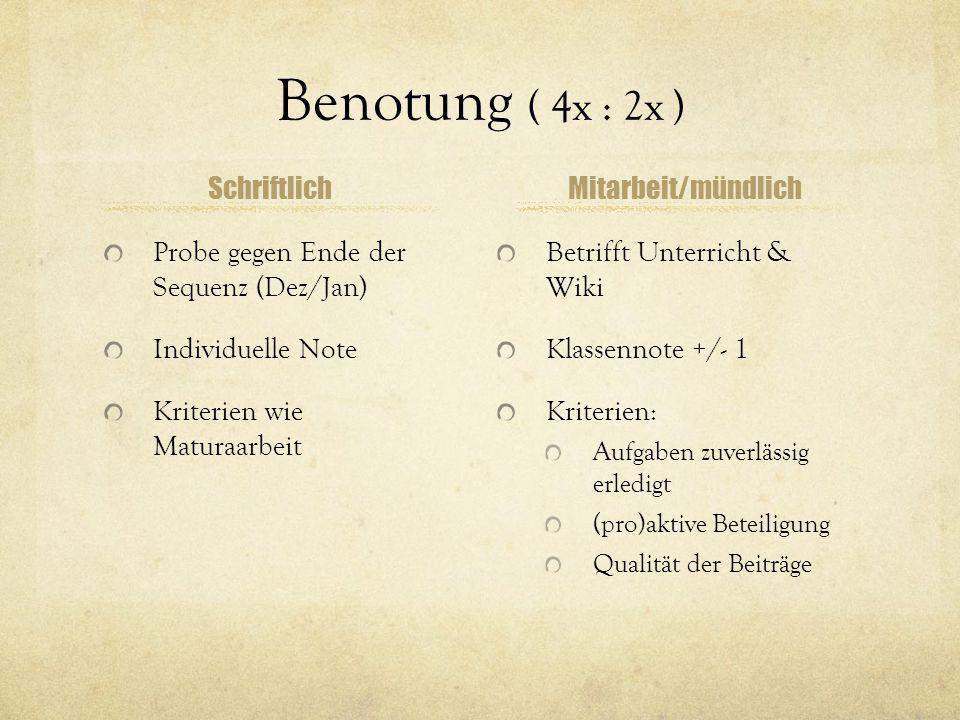 Benotung ( 4x : 2x ) Schriftlich Mitarbeit/mündlich