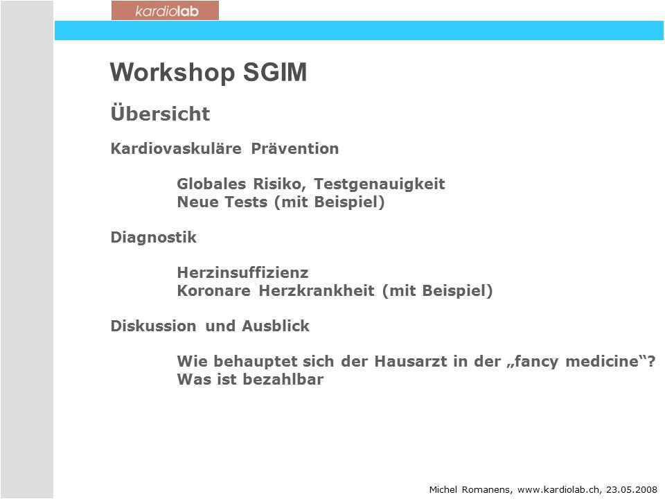 Workshop SGIM Übersicht Kardiovaskuläre Prävention