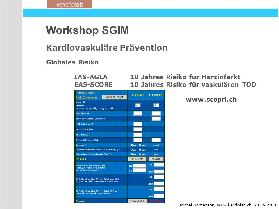 Workshop SGIM Kardiovaskuläre Prävention Globales Risiko