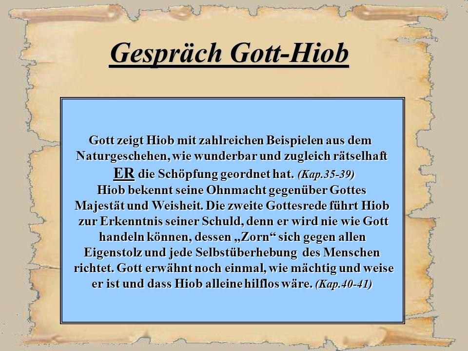 Gespräch Gott-Hiob ER die Schöpfung geordnet hat. (Kap.35-39)