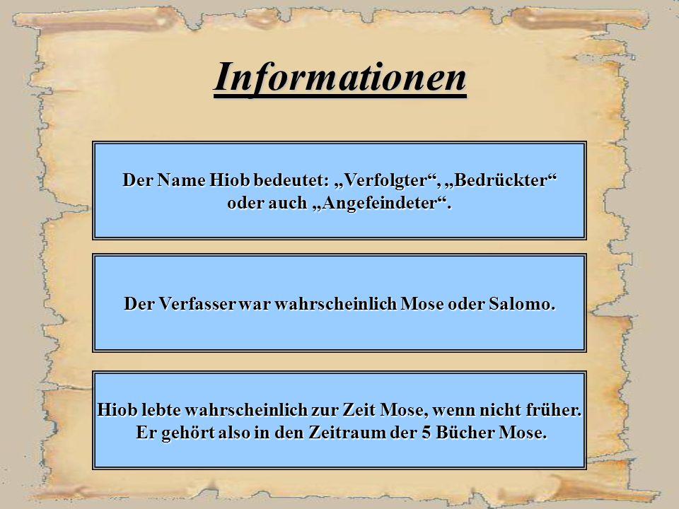 "Informationen Der Name Hiob bedeutet: ""Verfolgter , ""Bedrückter"