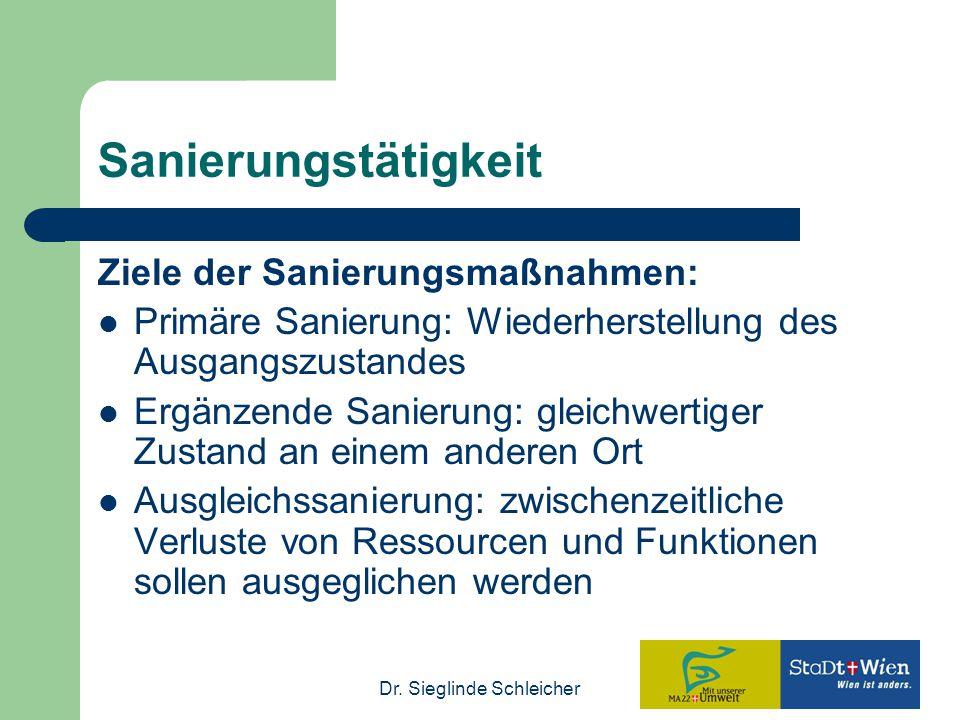 Sanierungstätigkeit Ziele der Sanierungsmaßnahmen:
