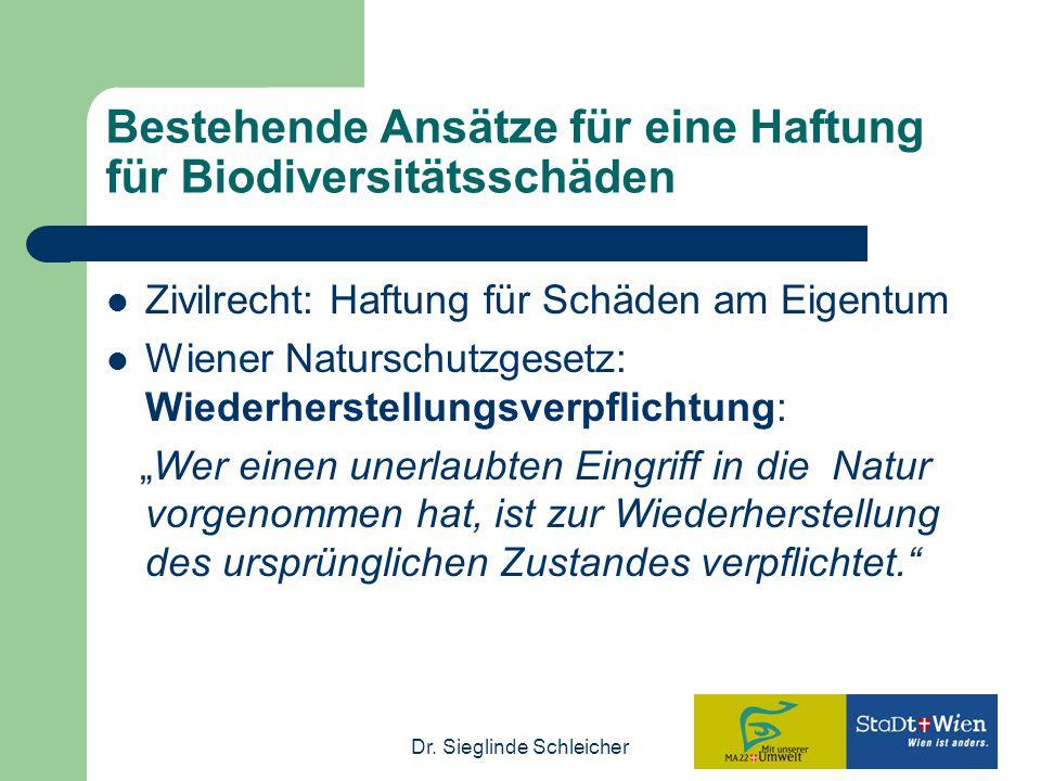 Bestehende Ansätze für eine Haftung für Biodiversitätsschäden