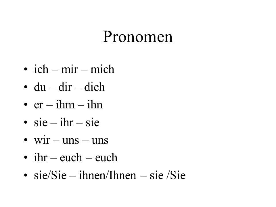 Pronomen ich – mir – mich du – dir – dich er – ihm – ihn