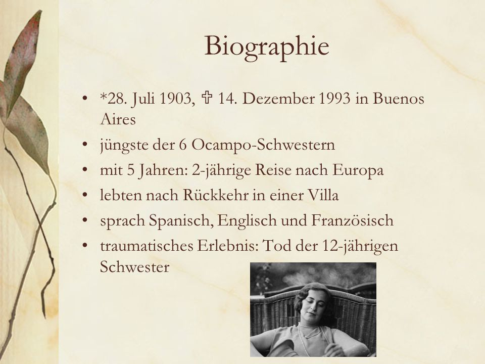 Biographie *28. Juli 1903,  14. Dezember 1993 in Buenos Aires