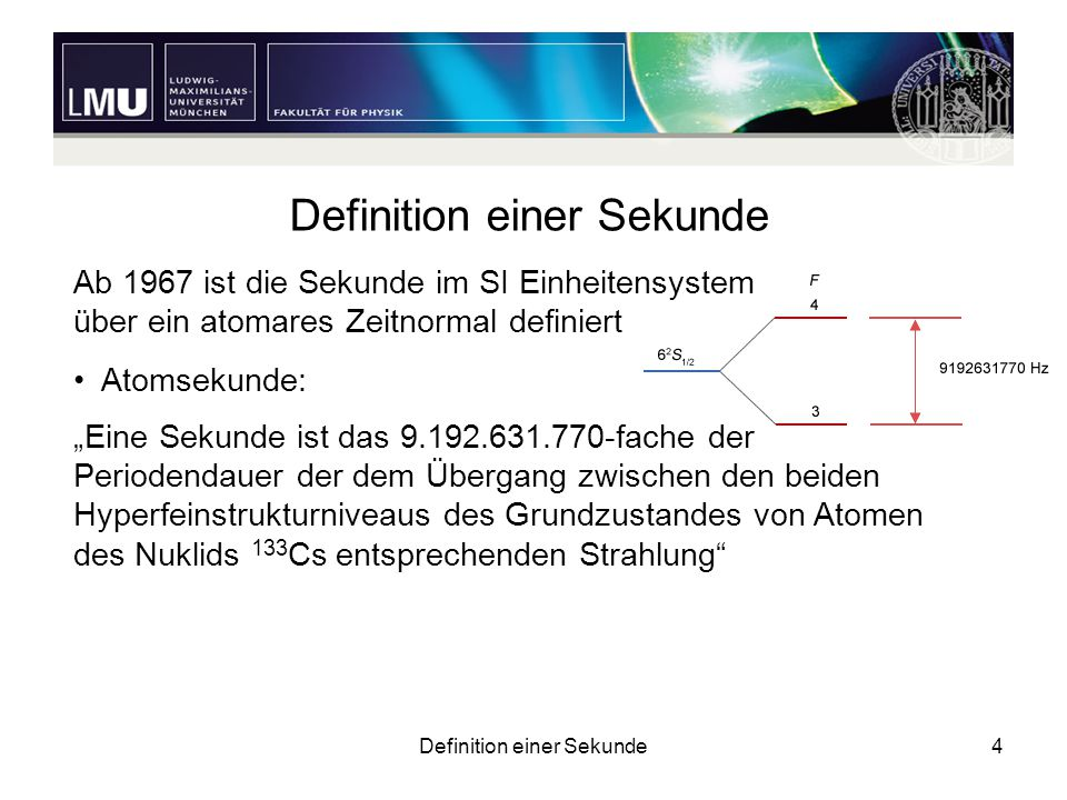 Definition einer Sekunde