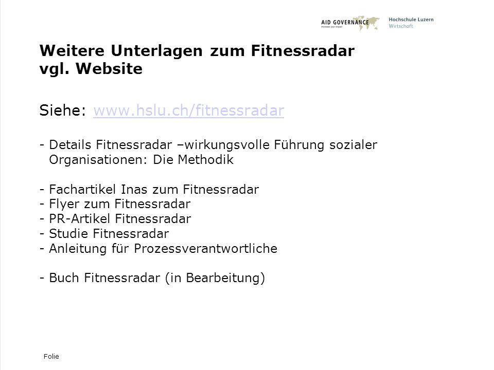 Weitere Unterlagen zum Fitnessradar vgl. Website