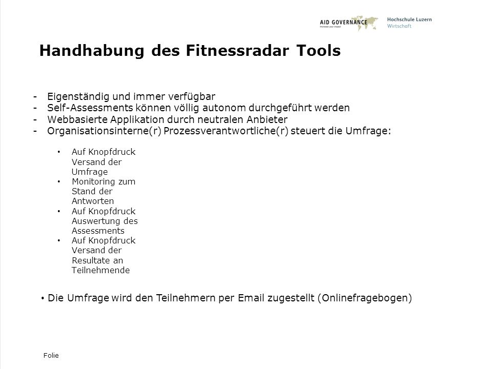Handhabung des Fitnessradar Tools