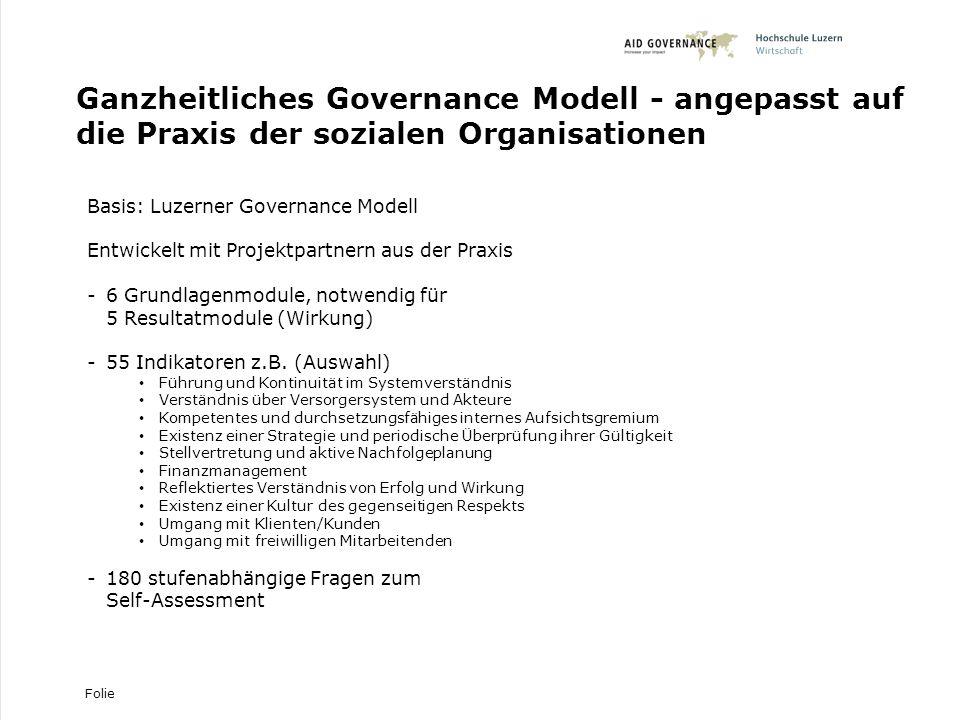 Ganzheitliches Governance Modell - angepasst auf die Praxis der sozialen Organisationen