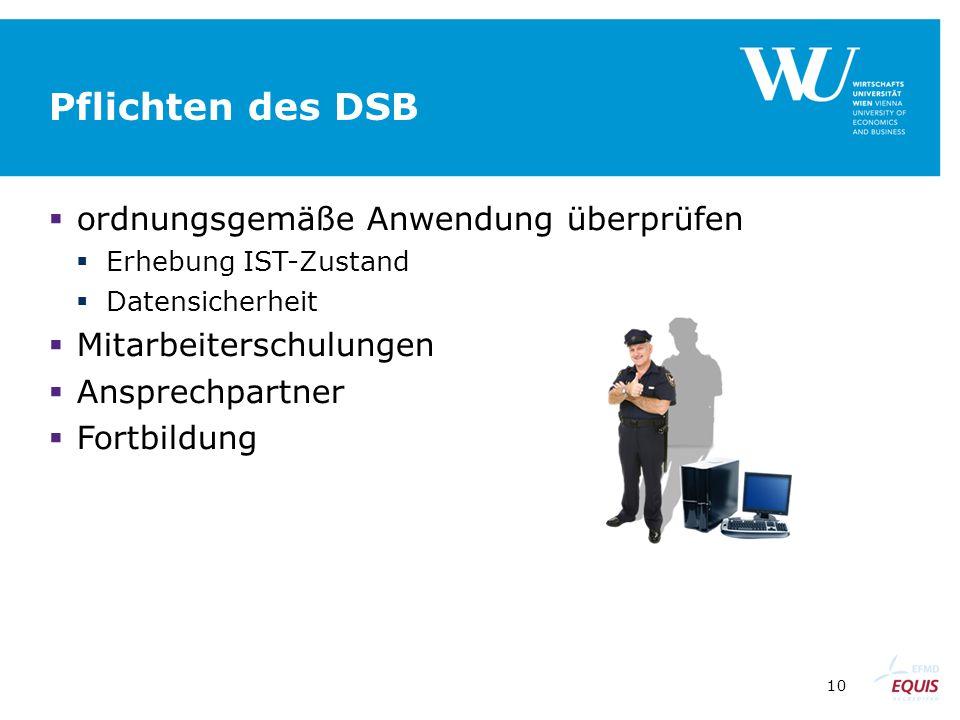 Pflichten des DSB ordnungsgemäße Anwendung überprüfen