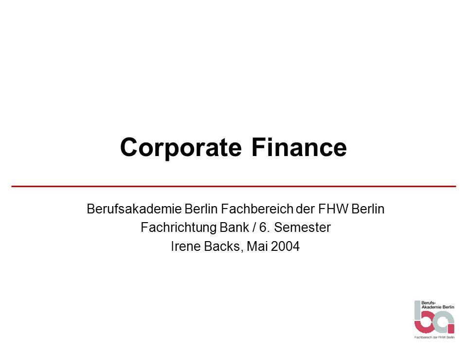 Corporate Finance Berufsakademie Berlin Fachbereich der FHW Berlin