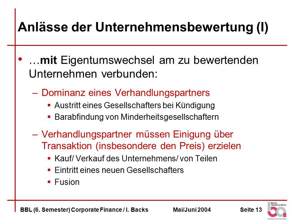 Anlässe der Unternehmensbewertung (I)