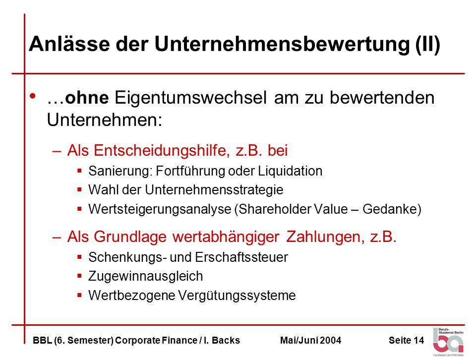Anlässe der Unternehmensbewertung (II)