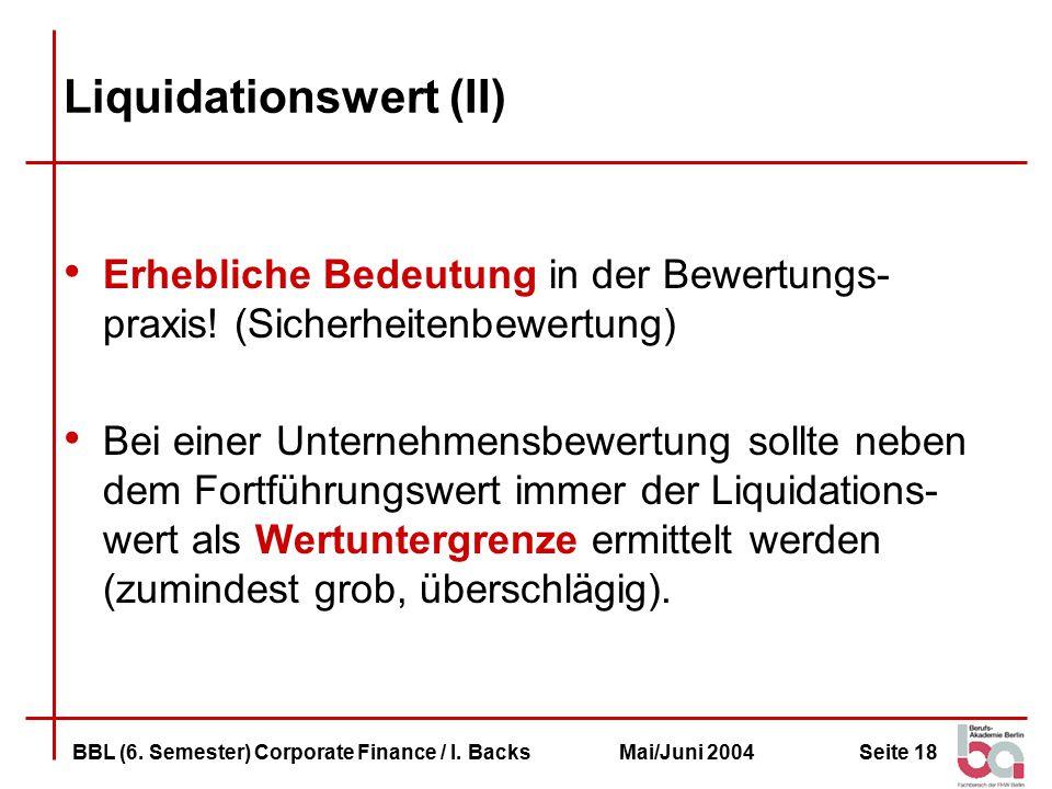 Liquidationswert (II)