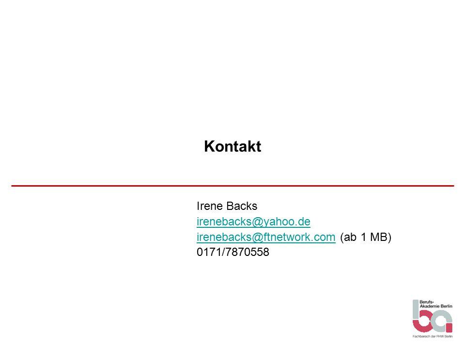 Kontakt Irene Backs irenebacks@yahoo.de