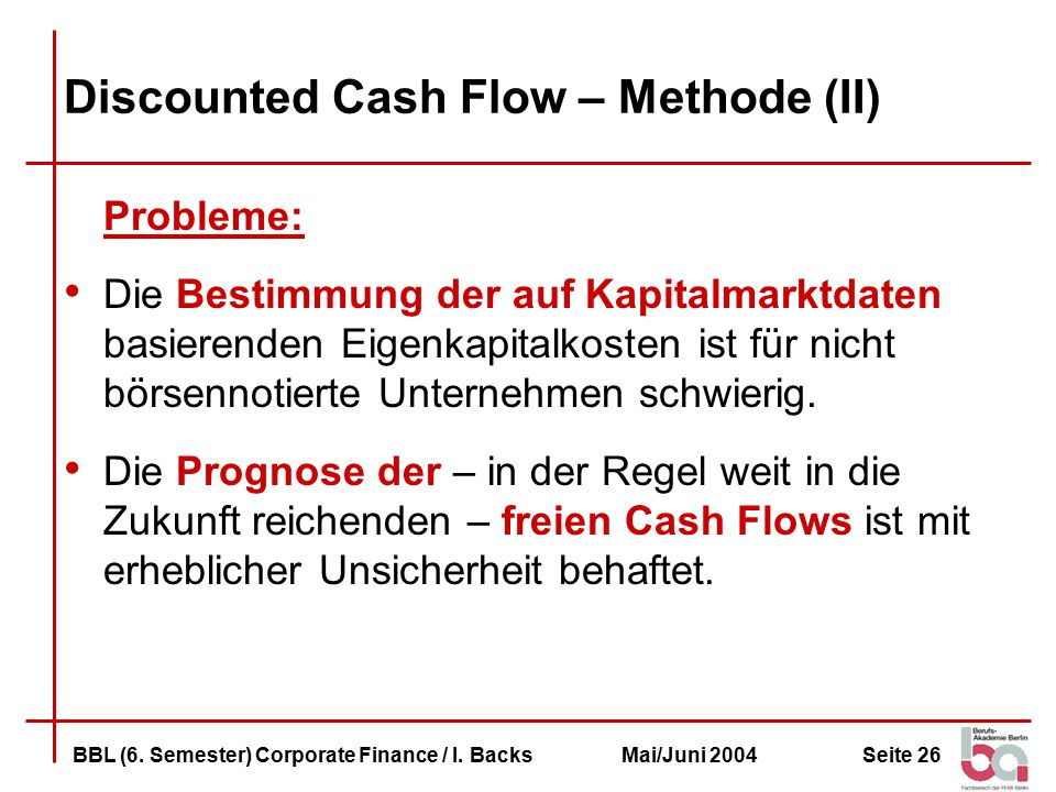 Discounted Cash Flow – Methode (II)