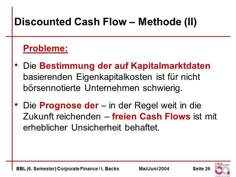 Discounted Cash Flow – Methode (II)