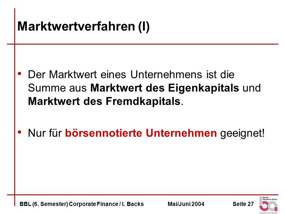 Marktwertverfahren (I)