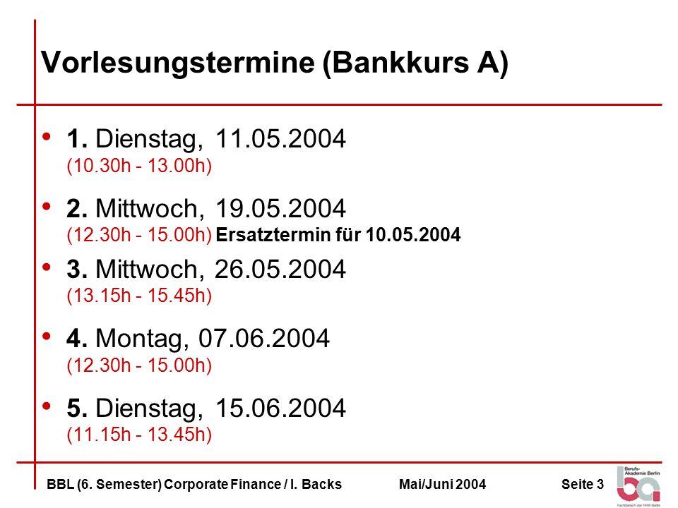 Vorlesungstermine (Bankkurs A)