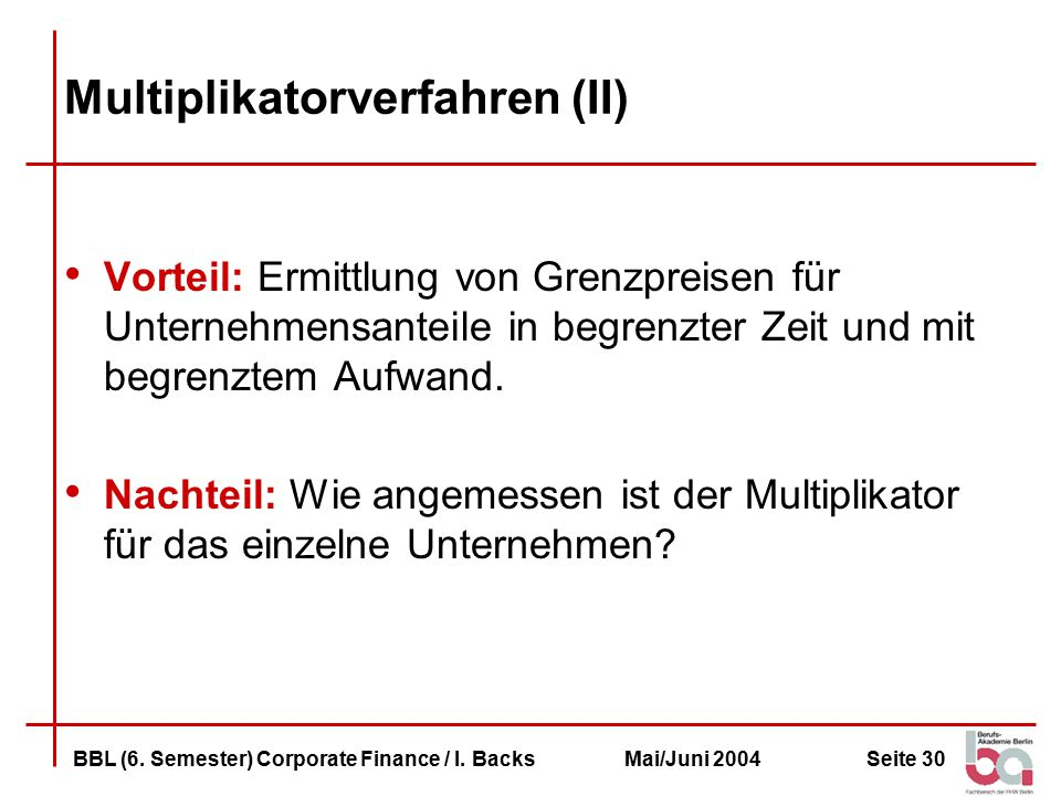 Multiplikatorverfahren (II)