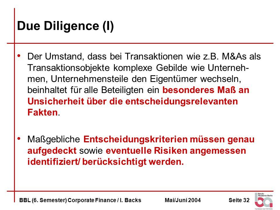 Due Diligence (I)