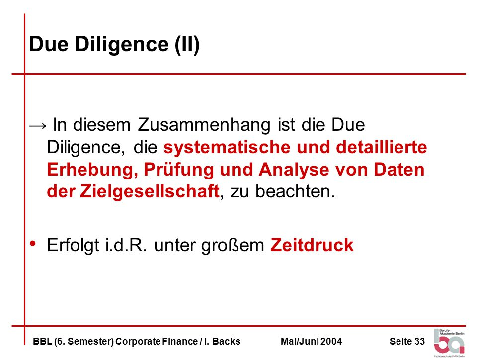 Due Diligence (II)
